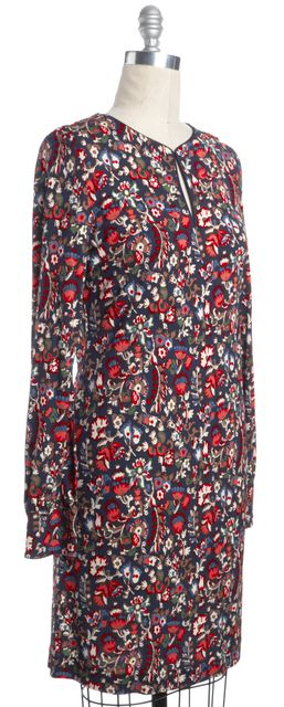 TORY BURCH Blue Red Green Floral Key Hole Knee Length Sheath Dress