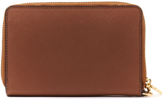 TORY BURCH Brown Saffiano Leather Zip Around Wristlet Wallet