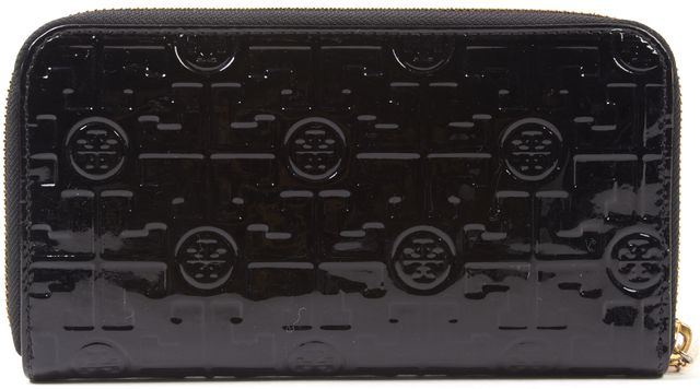 TORY BURCH Black Patent Embossed Leather Zip Around Wallet