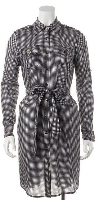 TORY BURCH Navy Blue White Polka Dot Belted Long Sleeve Shirt Dress