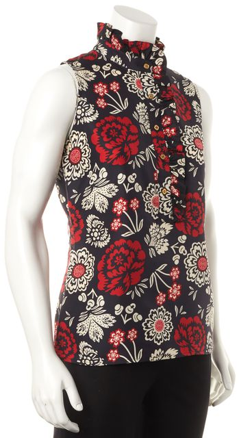 TORY BURCH Navy Blue Red White Floral Sleeveless Ruffle Silk Blouse Top