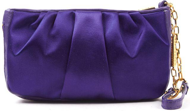 TORY BURCH Indigo Purple Satin Leather Trim Gold Zip Wristlet