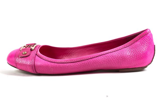 TORY BURCH Hot Pink Pebbled Leather Round Toe Flats