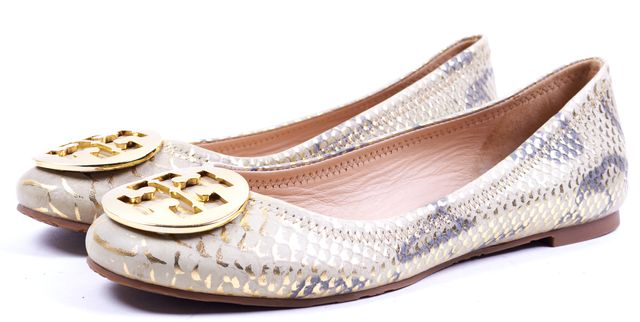 TORY BURCH Beige Gold Snake Printed Leather Flats