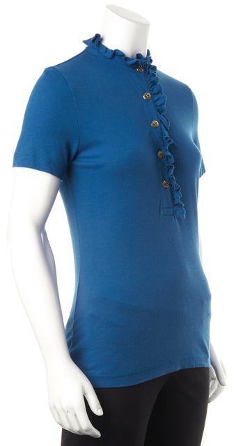 TORY BURCH Blue Gold Button Short Sleeve Ruffle Trim Polo Shirt Top