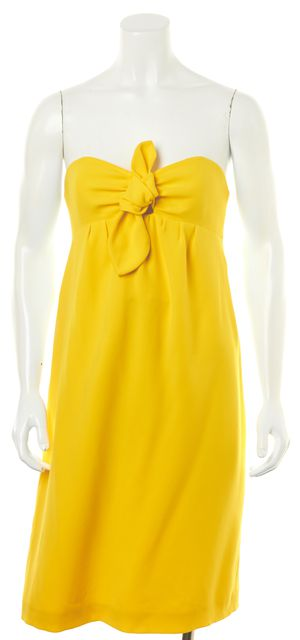 TORY BURCH Yellow Strapless Dress