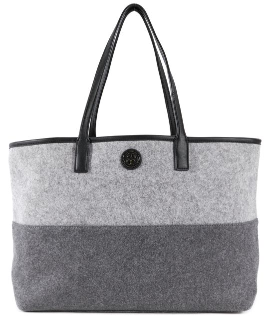 TORY BURCH Gray Wool Leather Trim Color-Block Tote Bag