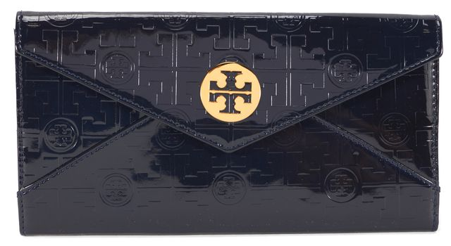 TORY BURCH Navy Embossed Patent Leather Envelope Flap Flat Clutch