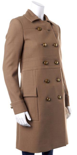 TORY BURCH Khaki Beige Wool Double Breasted Military Coat