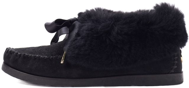 TORY BURCH Black Suede Fur Moccasin Flats