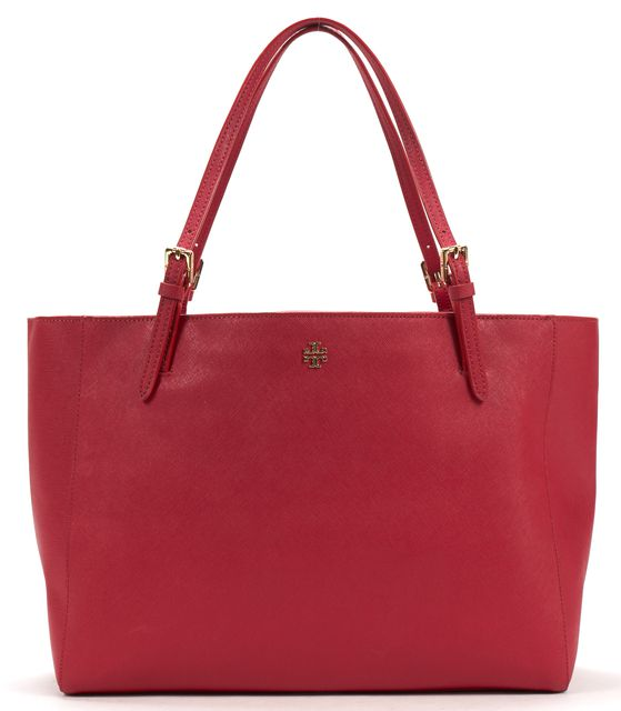 TORY BURCH Red Saffiano Leather Buckle York Tote