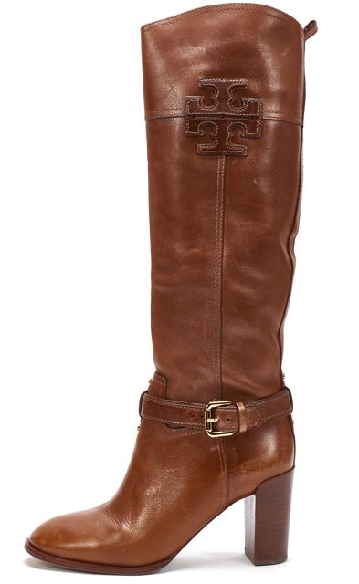 TORY BURCH Brown Leather Blaire Casual Buckle Side Knee-High Tall Boots