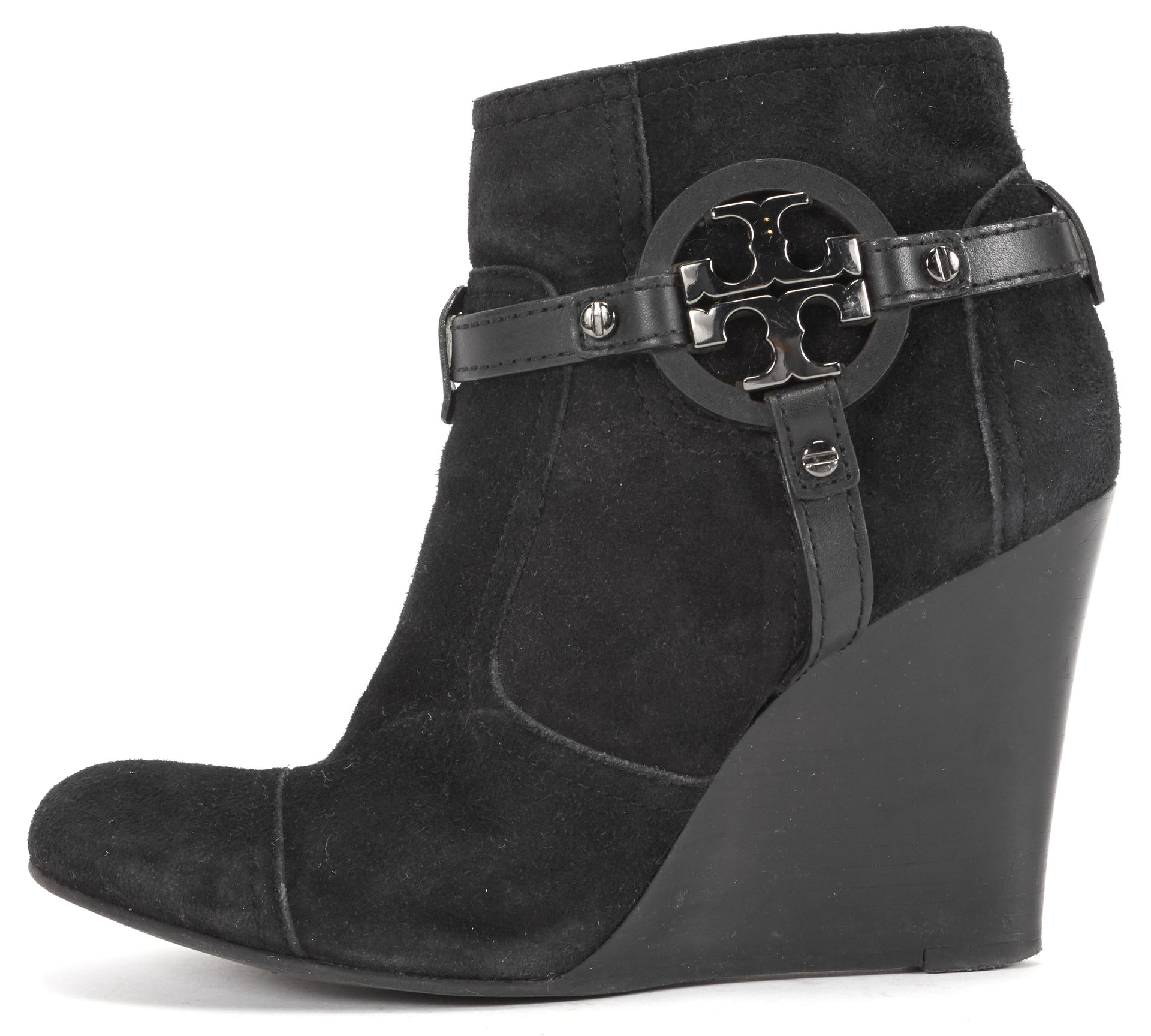Tory Burch Black Suede Leather Logo Wedge Ankle Boot Heels ...