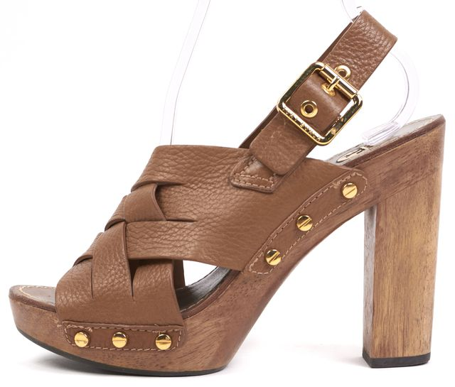 TORY BURCH Brown Leather Wooden Sandal Heels