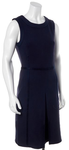 TORY BURCH Navy Blue Pleated Sleeveless Knee-Length Sheath Dress