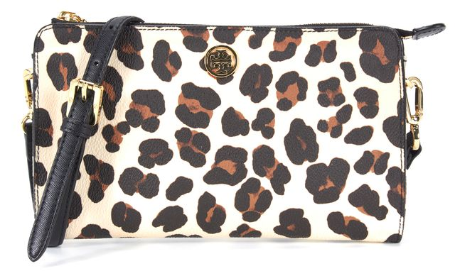 TORY BURCH Leather Leopard Coated Canvas Crossbody Bag