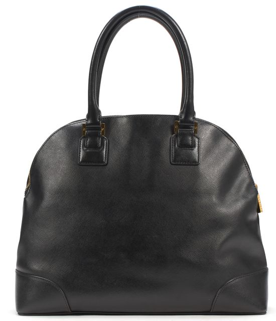 TORY BURCH Black Saffiano Leather Top Handle Open Dome Bag