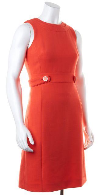 TORY BURCH Orange Wool Sleeveless Knee-Length Sheath Dress