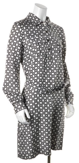 TORY BURCH White Black Geometric Silk Above Knee Belted Shirt Dress