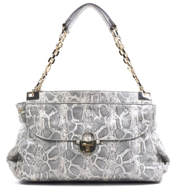 TORY BURCH Gray White Snakeskin Leather Gold Chain Link Top Handle Shoulder Bag