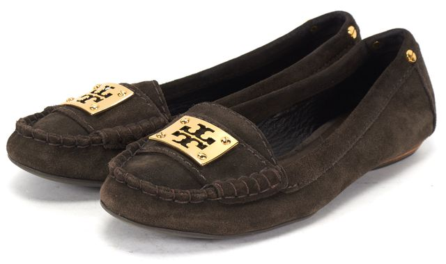 TORY BURCH Brown Suede Round Toe Moccasin Loafers