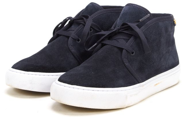 TORY BURCH Navy Blue Suede Lace Up High-Top Sneakers