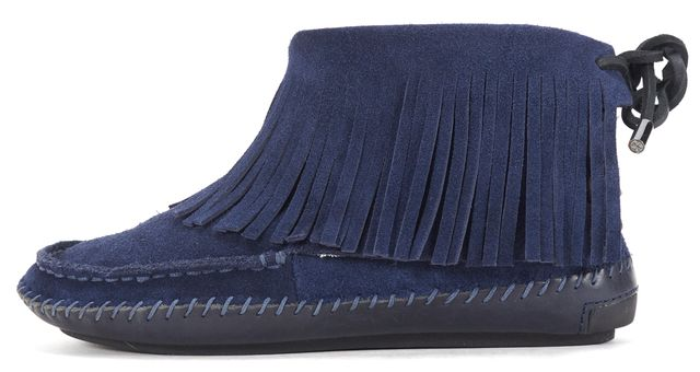 TORY BURCH Navy Blue Suede Lamb Fur Lined Fringe High Moccasin Flats