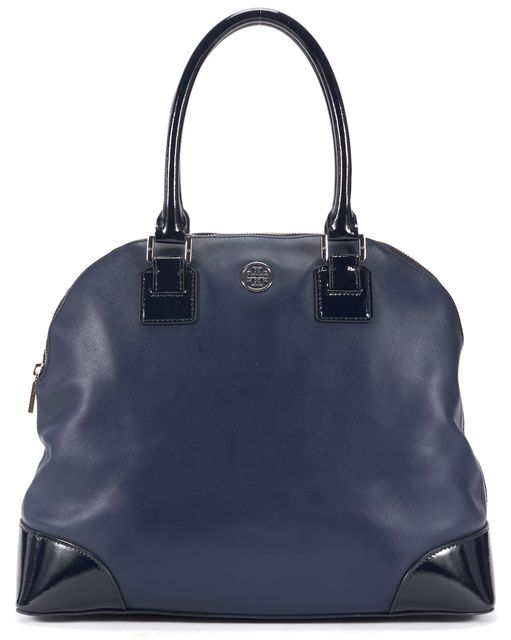 TORY BURCH Navy Blue Saffiano Leather Robinson Dome Satchel