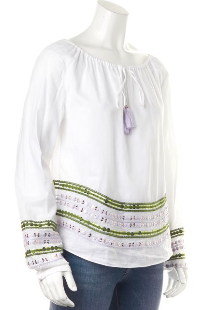 TORY BURCH White Cotton Sequin Embroidered Long Sleeve Peasant Blouse Top