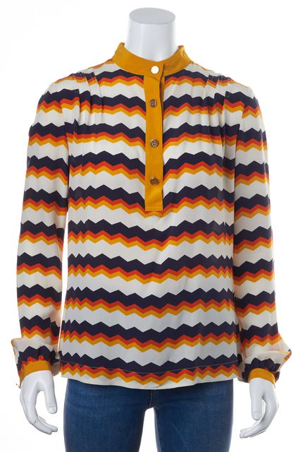 TORY BURCH White Mustard Navy Wavy Striped Silk Blouse