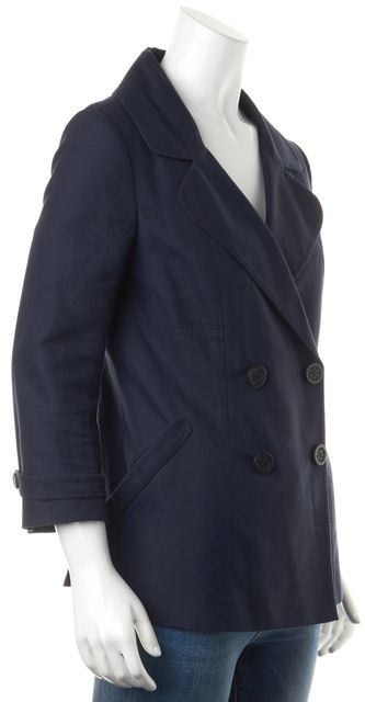 TORY BURCH Navy Blue Double Breasted Basic Jacket