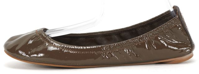 TORY BURCH Brown Patent Leather Round Toe Gathered Ballet Flat
