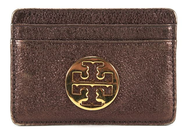 TORY BURCH Leather Bronze Logo Embossed Robinson Slim Card Case