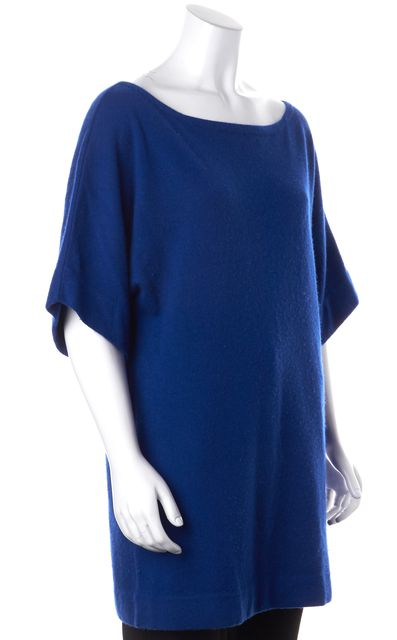 TORY BURCH Royal Blue Cashmere Short Dolman Sleeve Crewneck Sweater