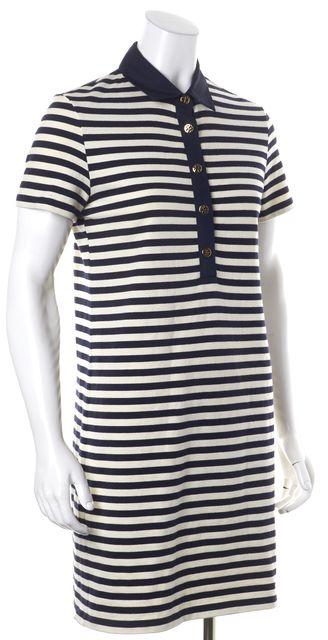 TORY BURCH Blue Ivory Striped Cotton Short Sleeve Shirt Dress