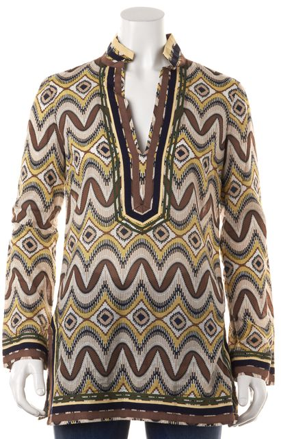 TORY BURCH Brown Beige Yellow Abstract Printed Cotton Tunic Top Blouse
