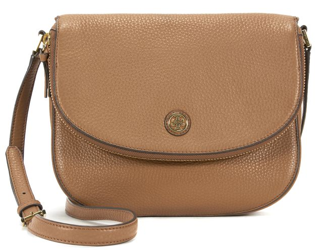 TORY BURCH Brown Pebbled Leather Gold Hardware Adjustable Strap Flap Crossbody