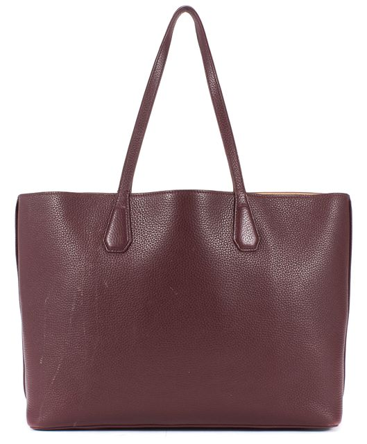 TORY BURCH Burgundy Red Pebbled Leather Tote