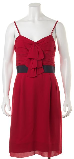 TORY BURCH Red Navy Blue Silk Ruffle Front Thin Strap Sheath Dress