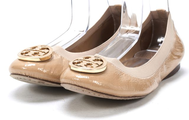 TORY BURCH Nude Patent Leather Round Toe Gathered Ballet Flats