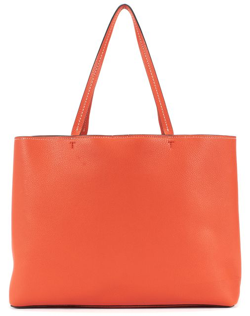 TORY BURCH Orange Leather Logo Embossed Tote Handbag