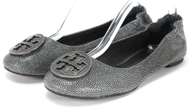 TORY BURCH Gray Embossed Leather Logo Flats