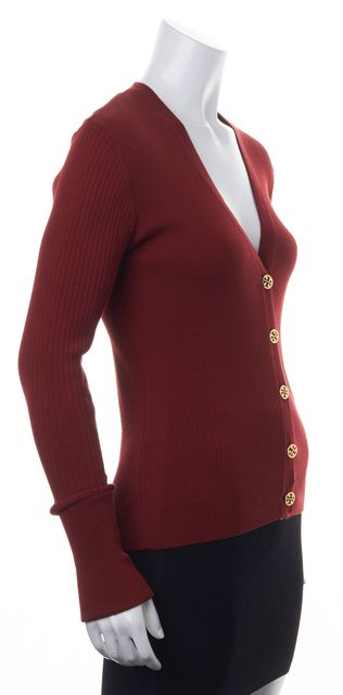 TORY BURCH Red Ribbed Knit Gold Button Front V-Neck Cardigan Sweater