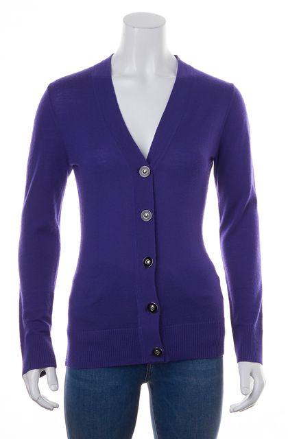 TORY BURCH Purple Merino Wool Long Sleeve V-Neck Logo Buttons Cardigan