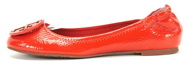 TORY BURCH Orange Patent Leather Round Toe Ballet Flats