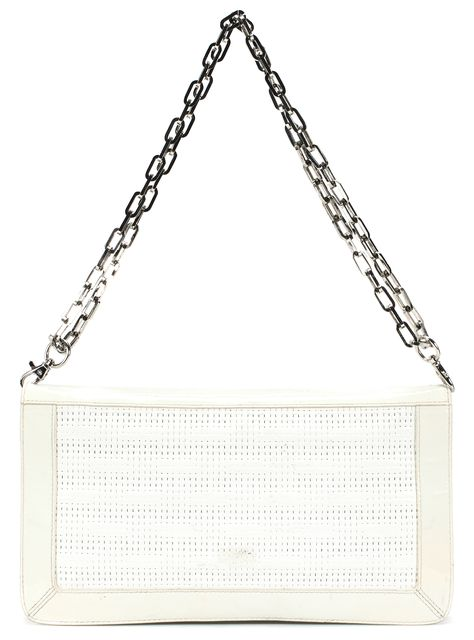 TORY BURCH Ivory Patent Leather Metal Chain Shoulder Bag