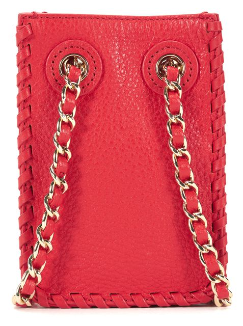 TORY BURCH Red Pebbled Leather Small Crossbody Bag