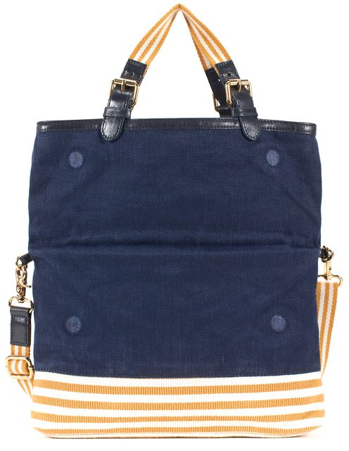 TORY BURCH Navy Yellow Stripe Canvas Leather Trim Convertible Foldover Tote Bag
