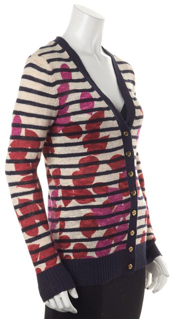 TORY BURCH Blue Floral Striped Linen Cardigan