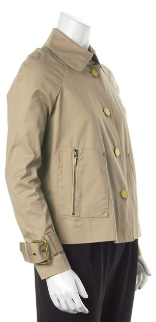TORY BURCH Beige Stretch Cotton Gold Button Up Basic Jacket
